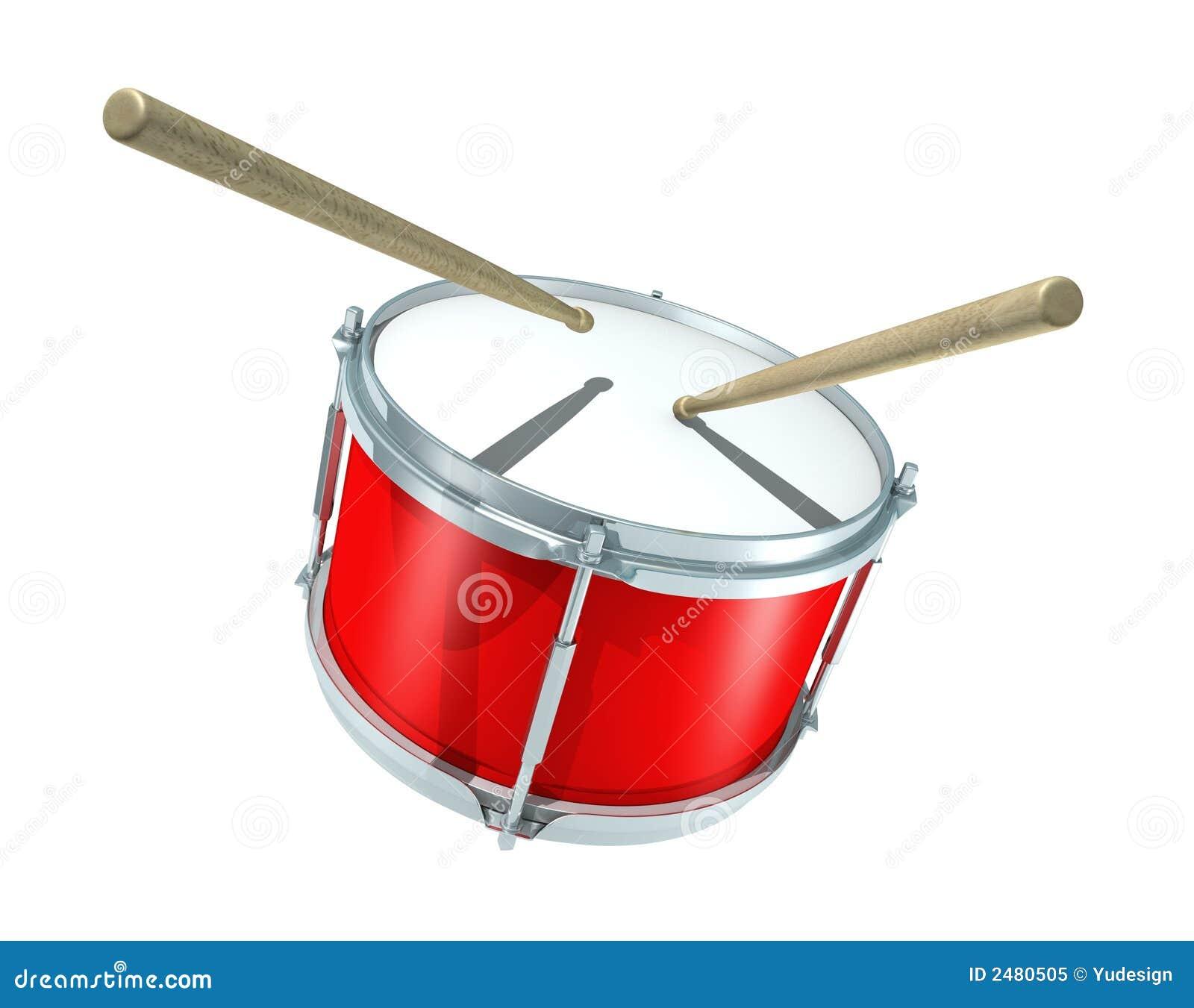 3D rendered illustration of snare drum with drum sticks.