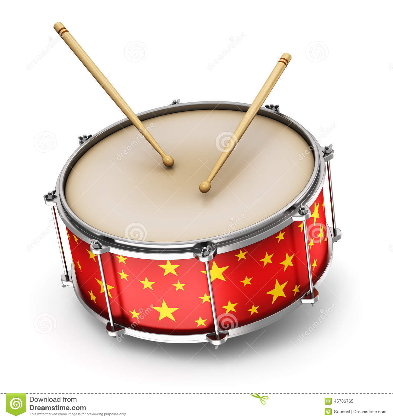 Creative abstract musical instrument concept: red drum with pair of ...
