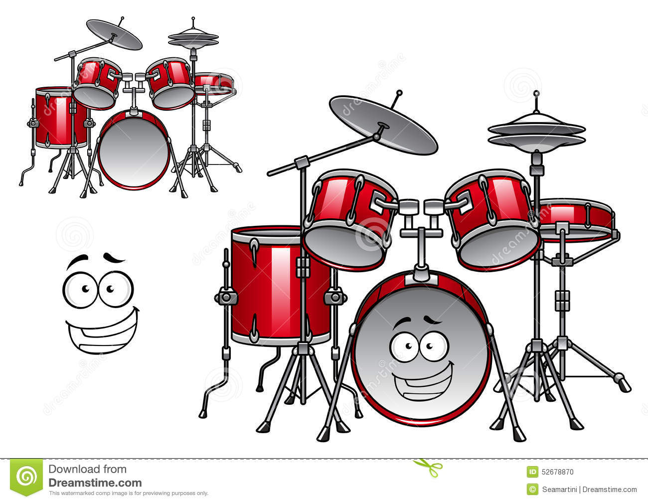 Red Drum Kit Cartoon Character Stock Vector - Illustration of bass ...