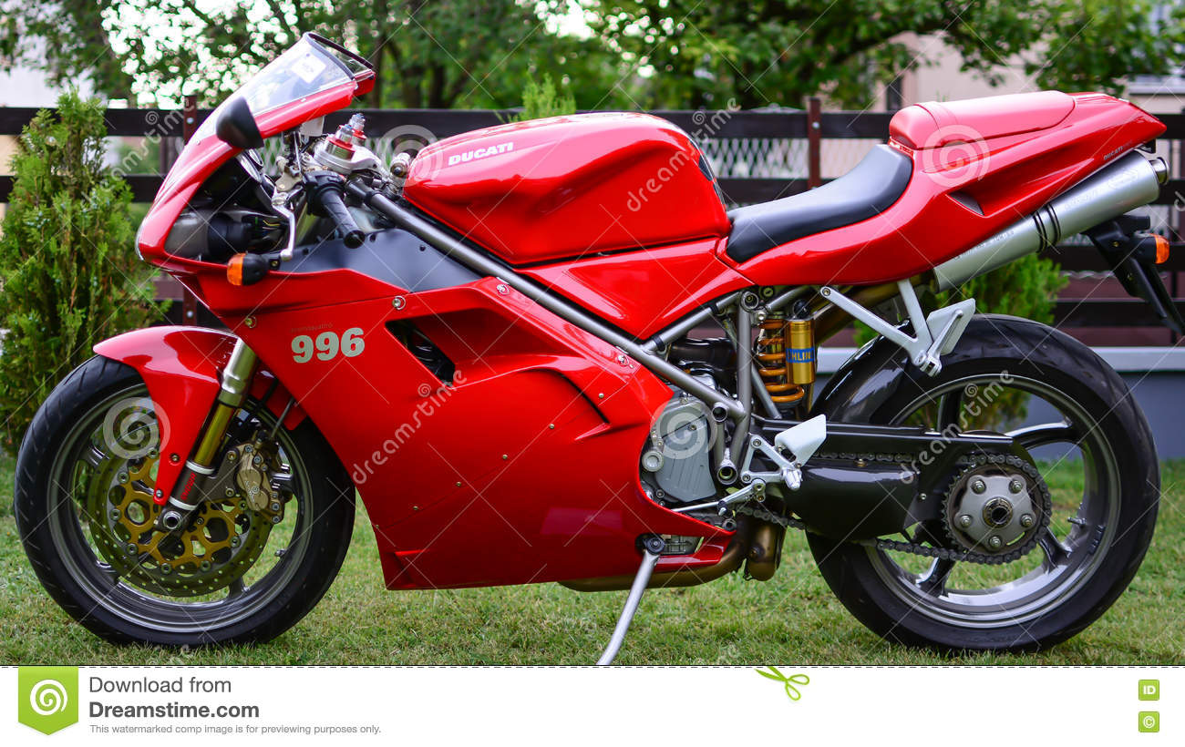 Red Ducati 996s Motorcycle Stock Image. Image Of Close