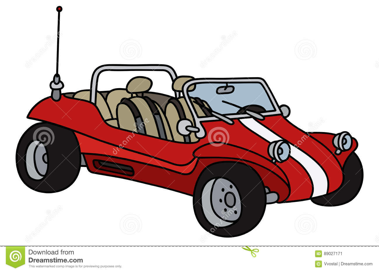 Red dune buggy stock vector  Illustration of cartoon - 89027171