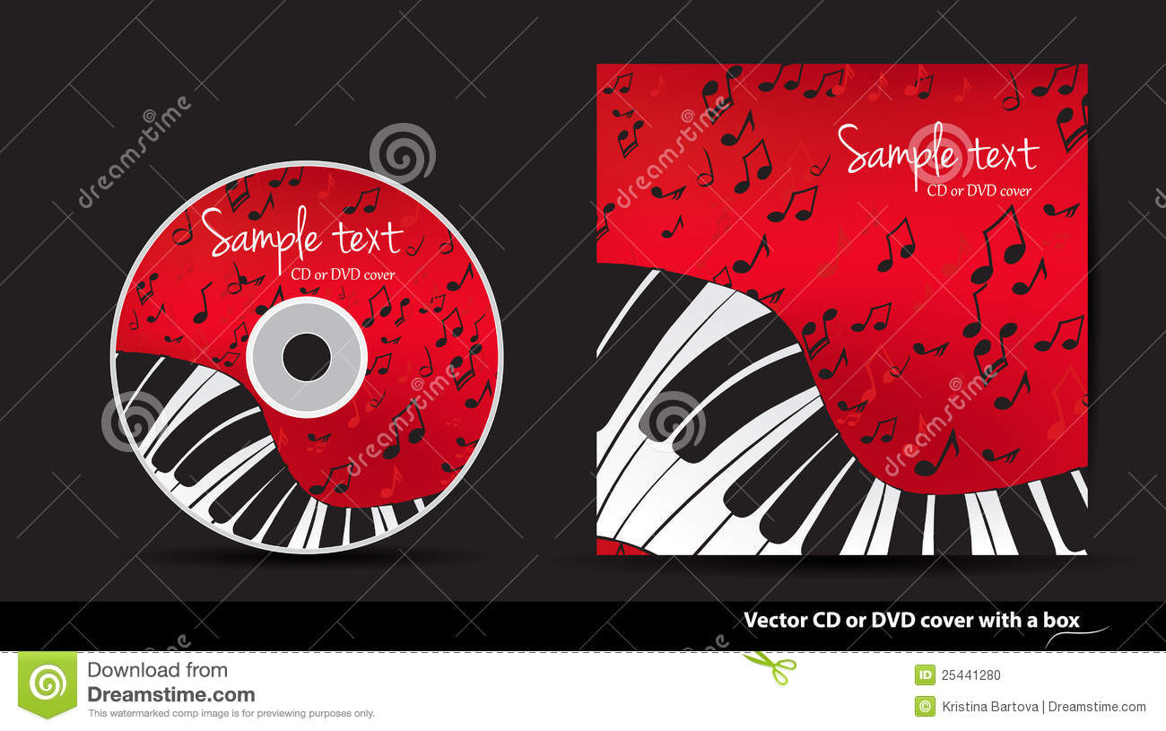 Red DVD Cover Design With Piano Stock Vector ...