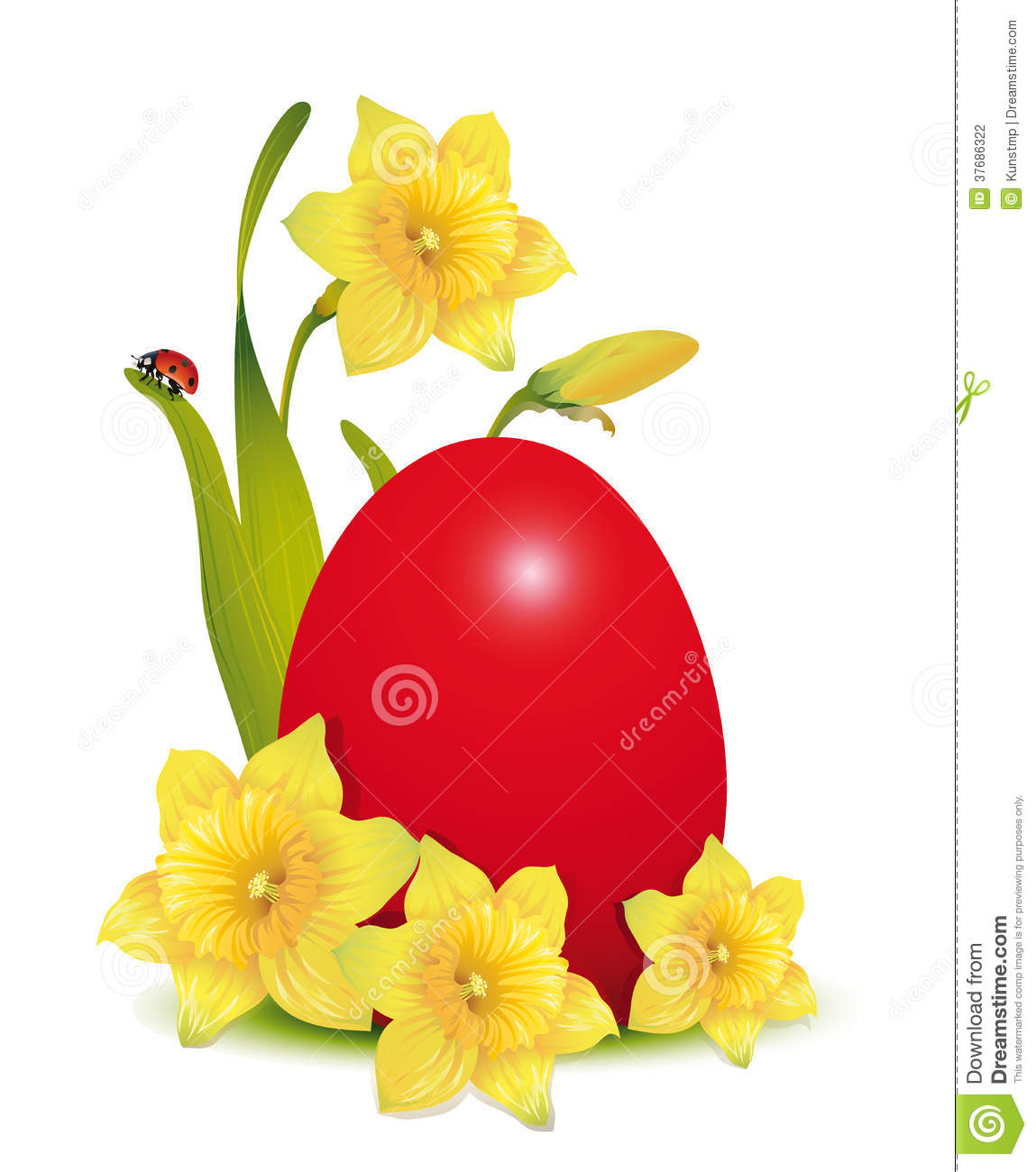 red easter egg and daffodils with ladybug stock