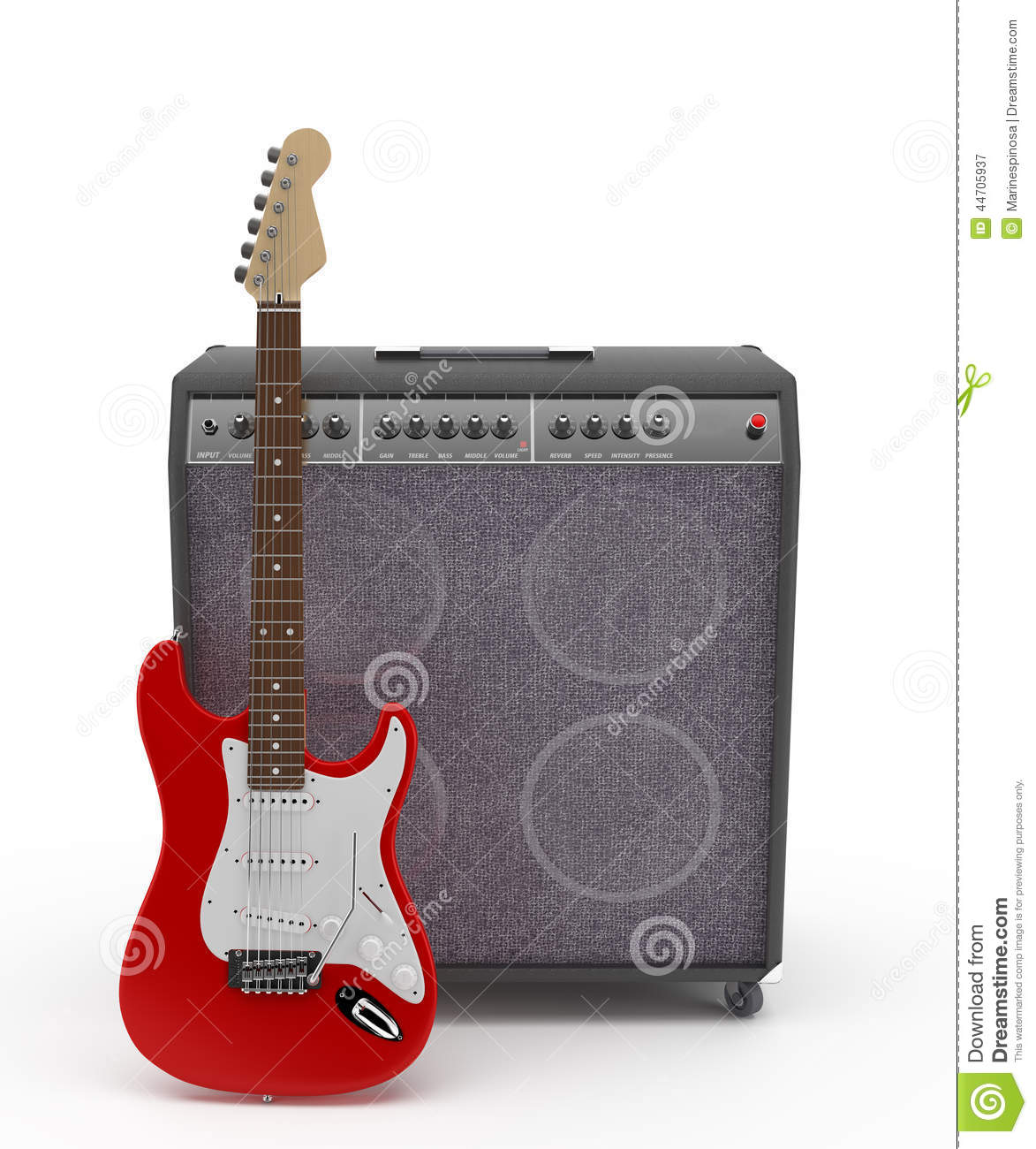 red electric guitar with amplifier stock image image of noise beautiful 44705937. Black Bedroom Furniture Sets. Home Design Ideas