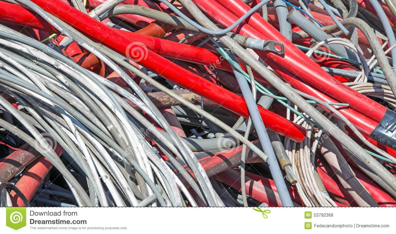 Red Electrical Wires In The Dump Of Special Material Stock Photo ...