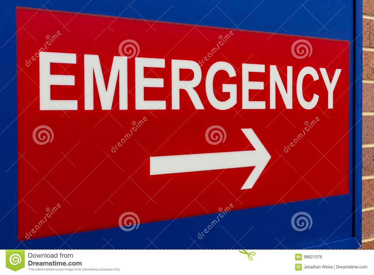 Red Emergency Entrance Sign for a Local Hospital XVIII
