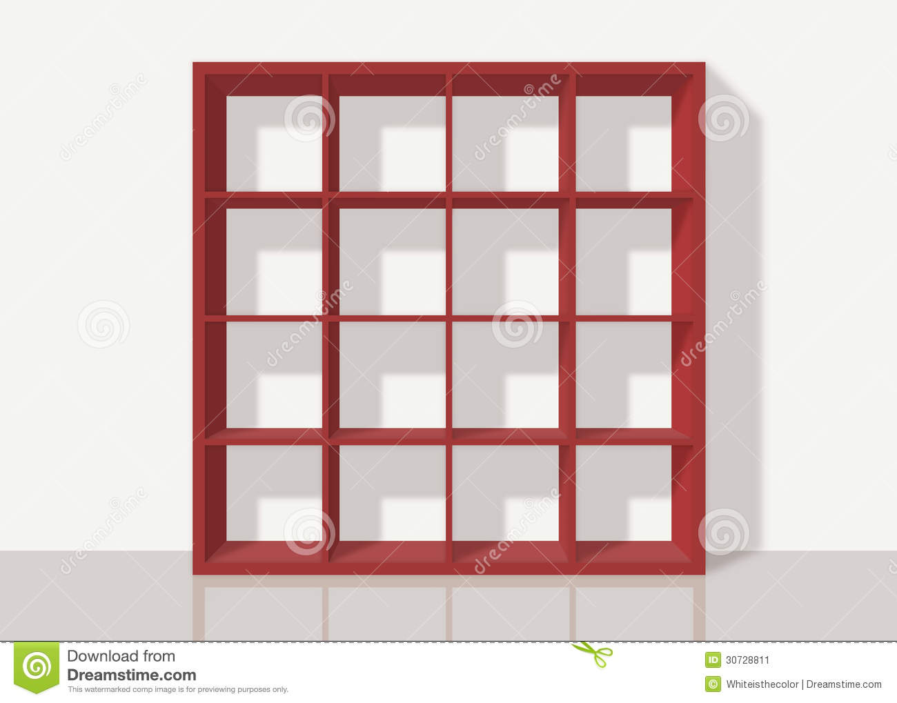 red empty square bookshelf on white wall background stock image  - background bookshelf empty red sixteen square