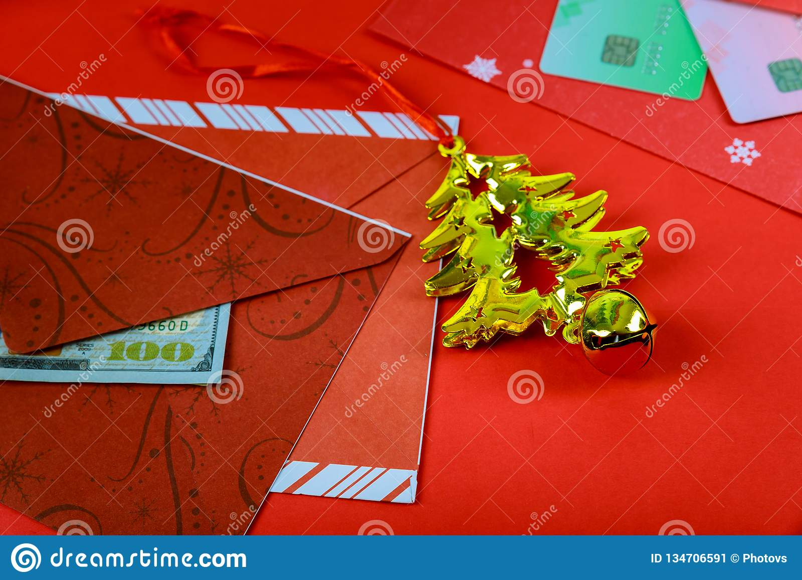Red envelope with dollar for Chinese New Year bonus in red background,Happy Chinese new year concept