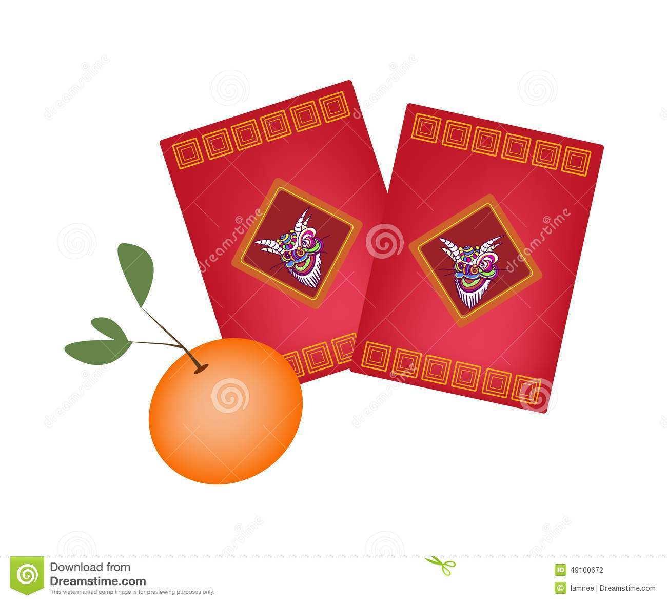 Traditional chinese illustration of chinese ang pao or red envelope