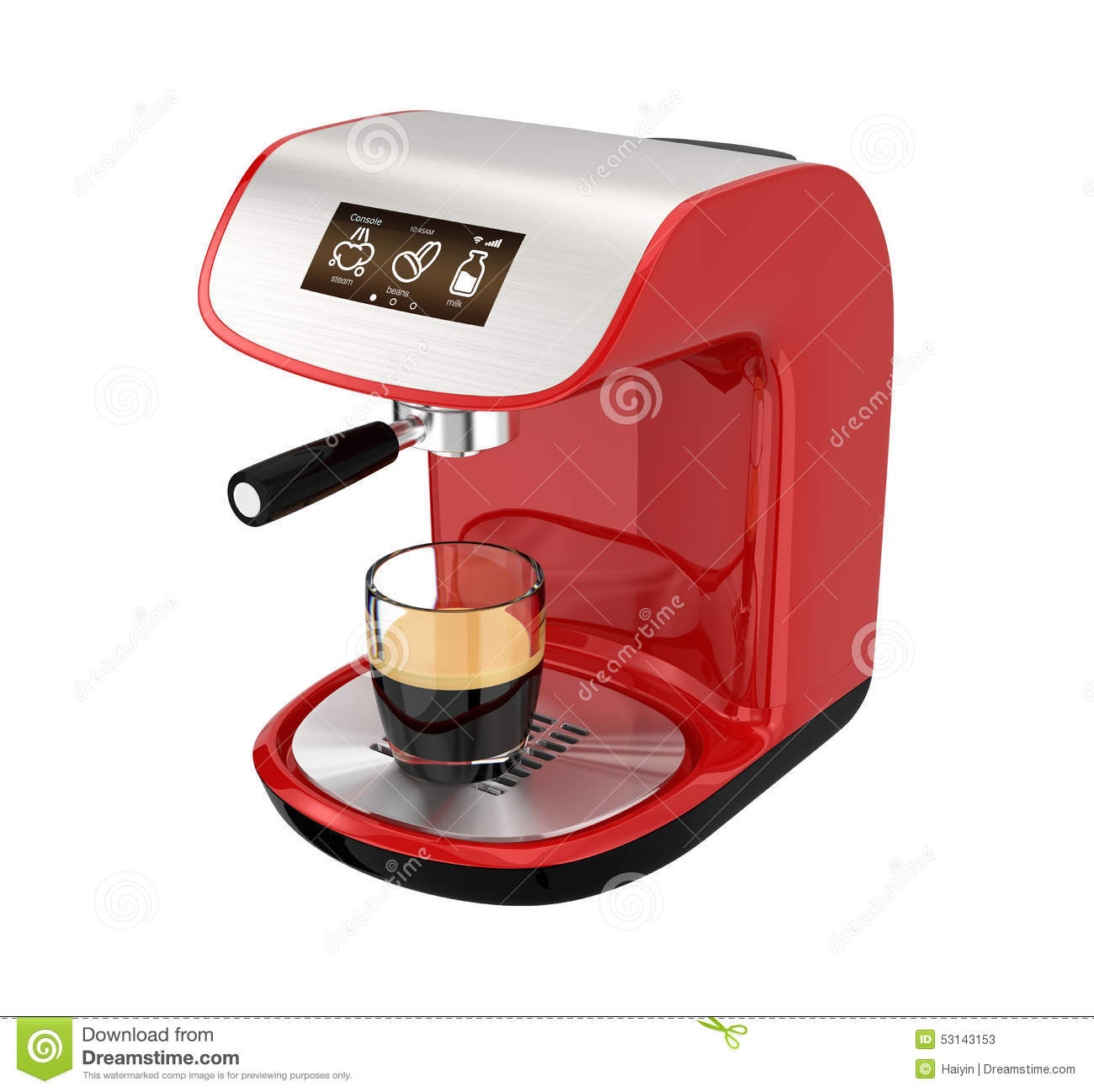 Touch Of Modern Espresso Maker ~ Red espresso coffee machine with touch screen stock photo