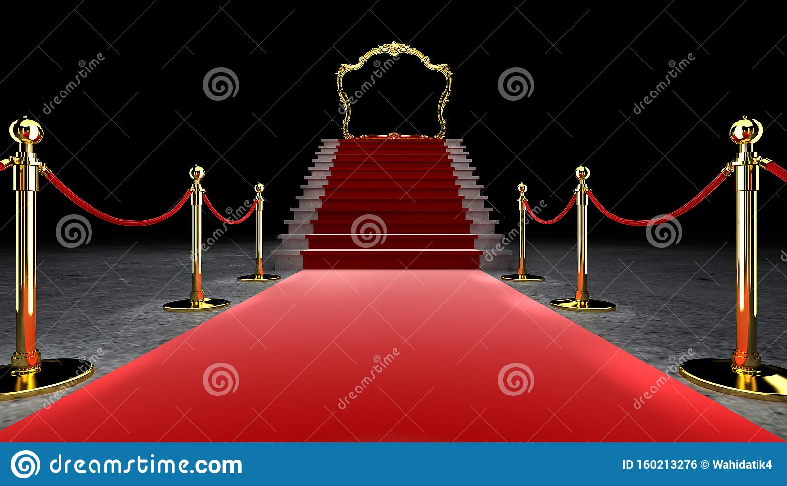Red Event Carpet, Stair en Gold Rope Barrier Concept of Success and Triumph, 3d rendering