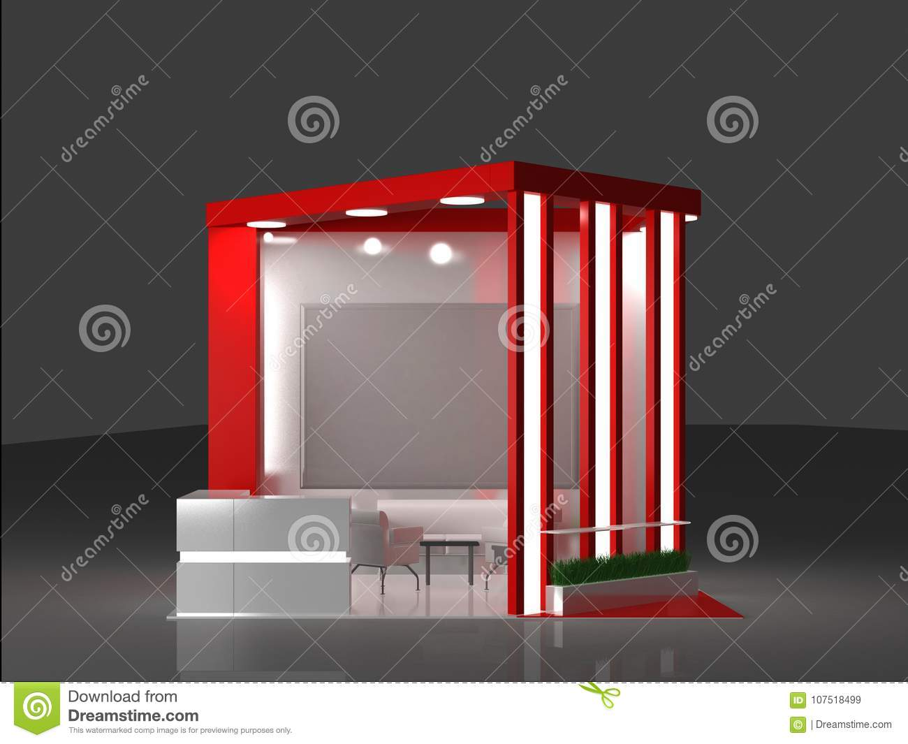 Exhibition Stand Interiors : Red exhibition stand interior and exterior sample stock