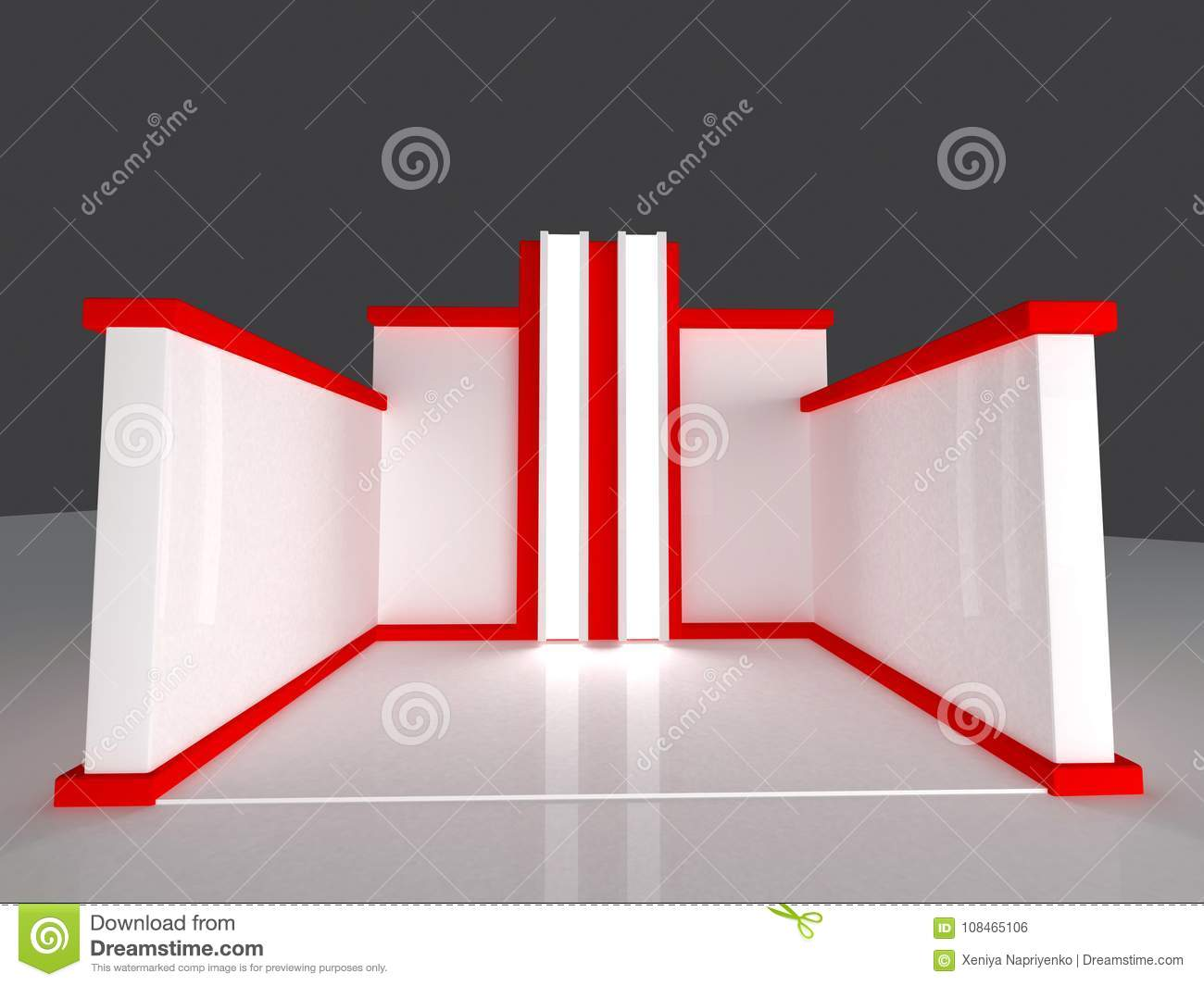 Marketing Exhibition Stands : Red exhibition stand d rendering stock illustration