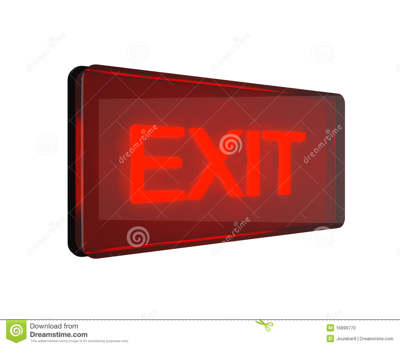 Red exit sign isolated on white Red Exit Sign