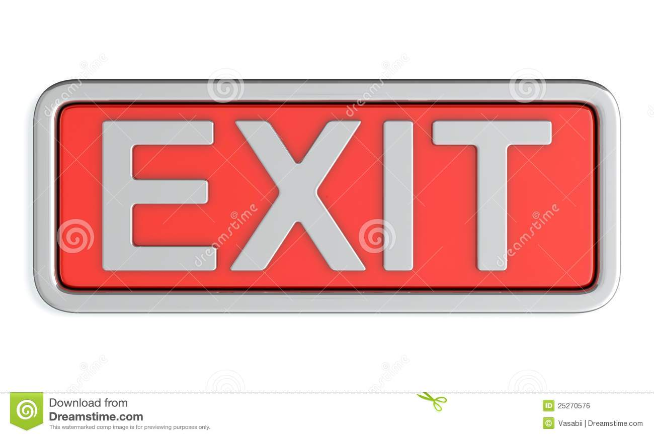 3d render of red exit sign on white background Red Exit Sign