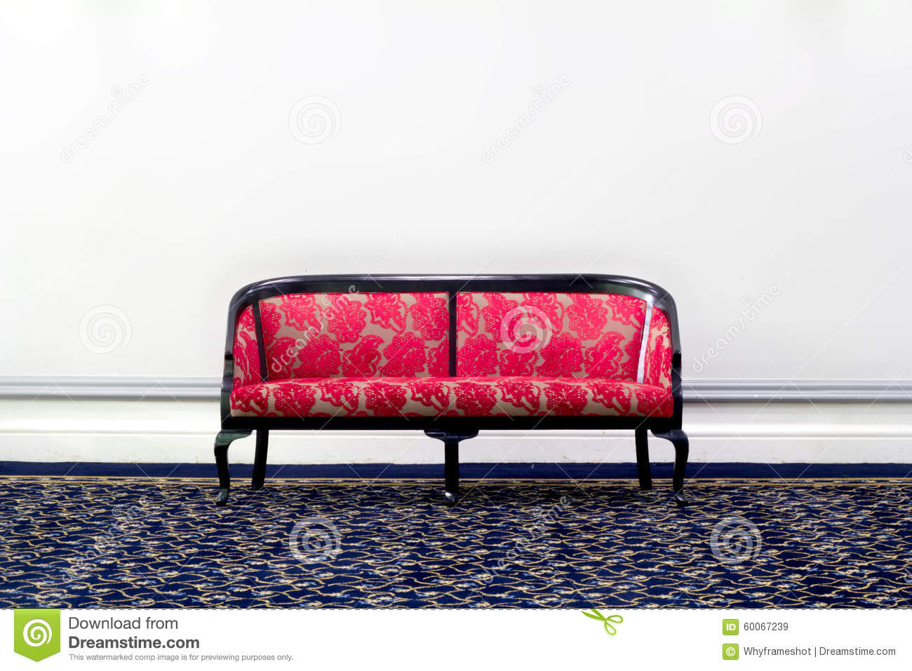 Red fabric sofa in front of white wall stock photo image 60067239 - Red and white sofa ...