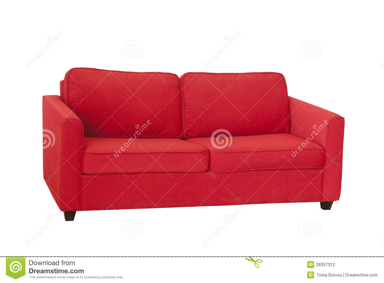 Vintage red sofa isolated on white stock photography for Red white sofa