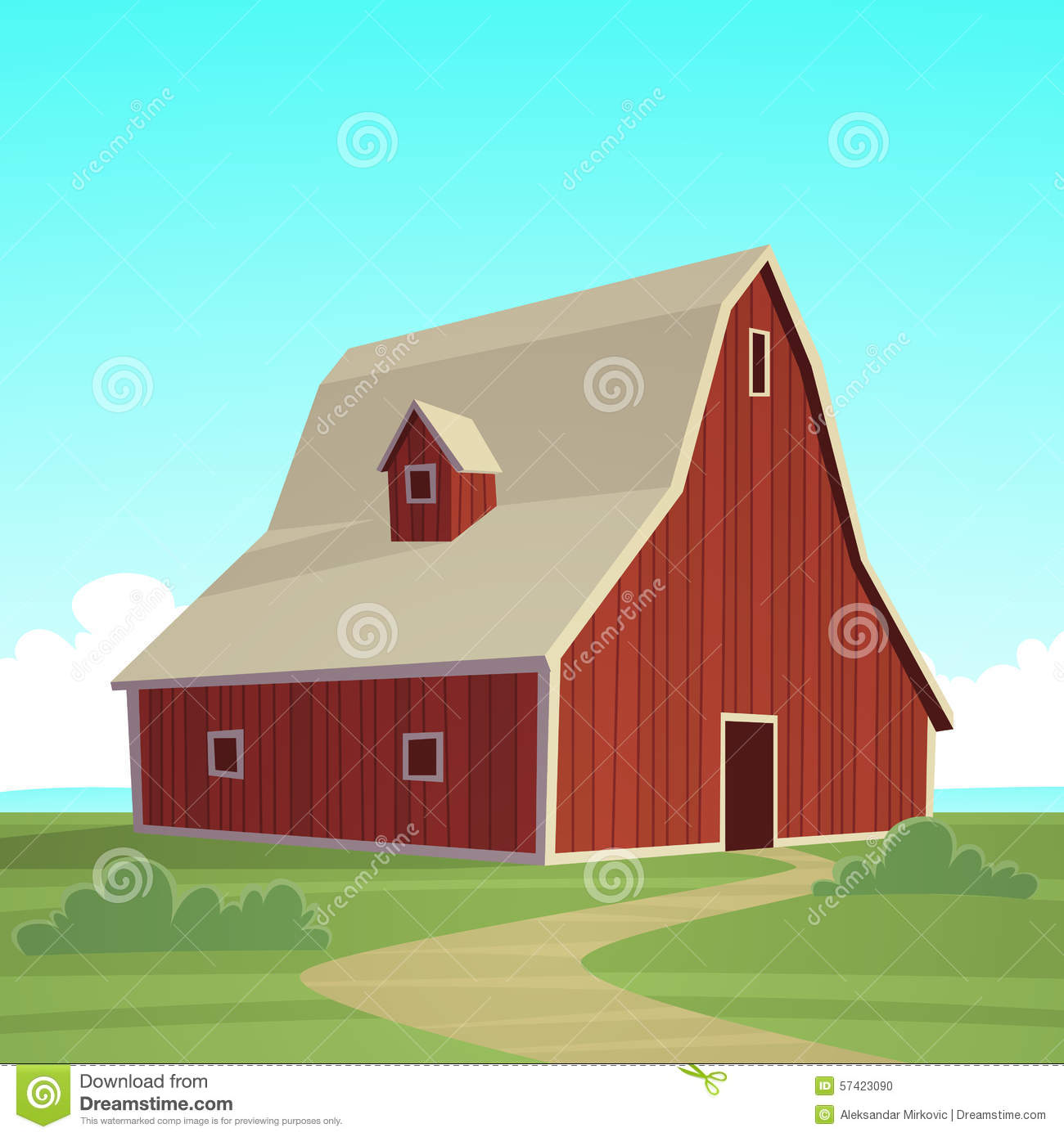 Red Farm Barn Stock Vector Image 57423090