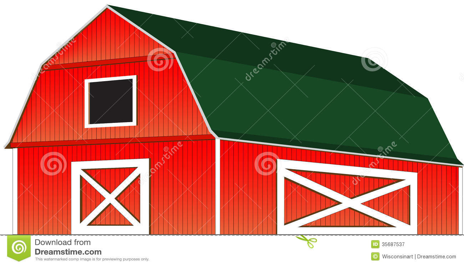 farm barn clip art. Red Farm Barn Vector Illustration Isolated Clip Art W