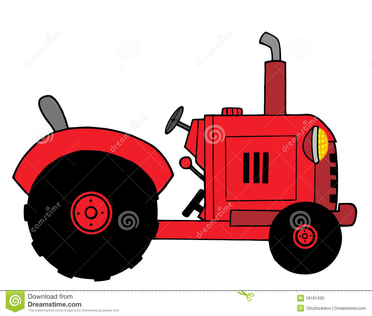 Vintage Tractor Cartoon : Red farm tractor stock photo image