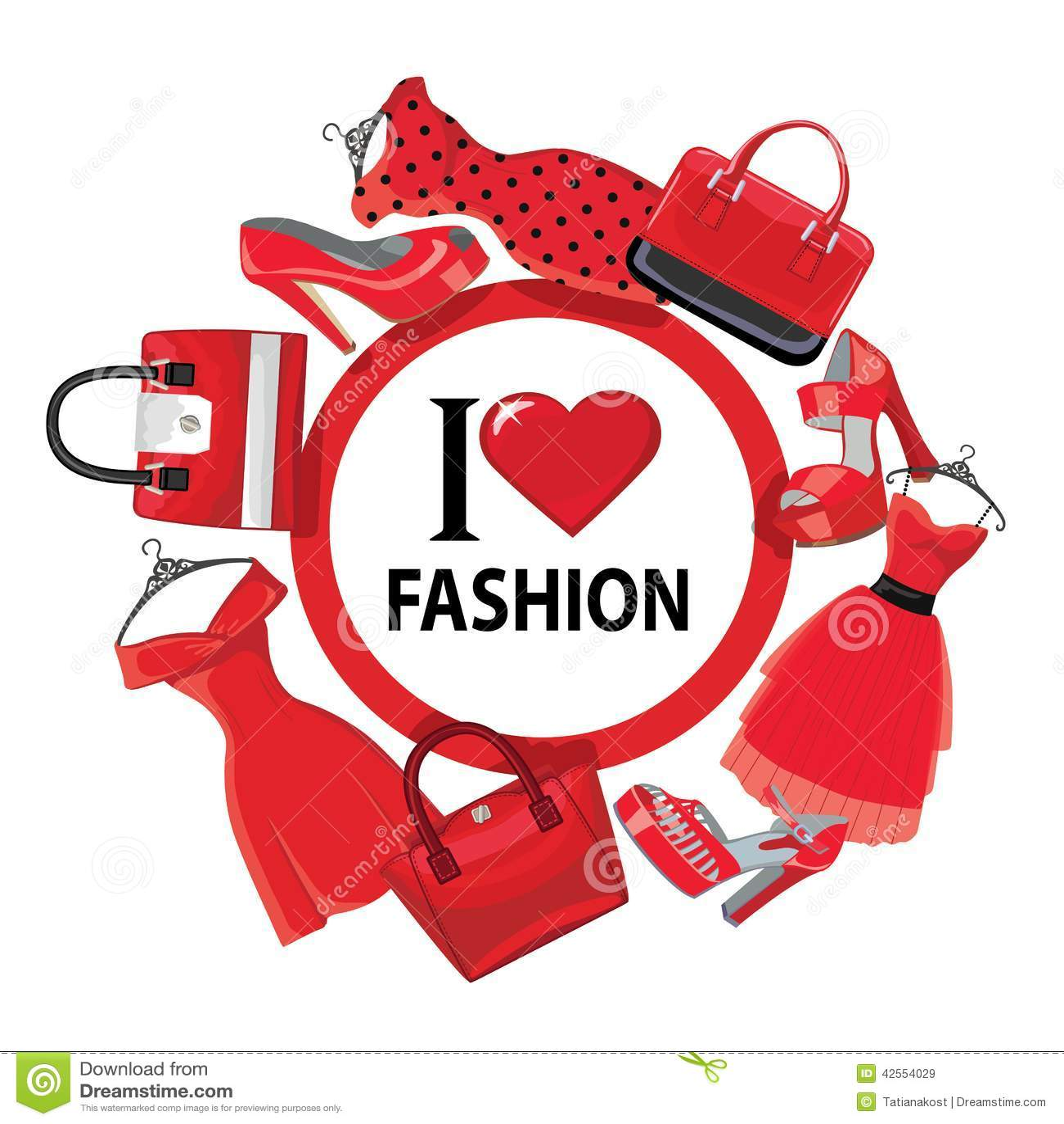 Red Fashion Women's Dresses,handbag, High-heeled Shoes.eps ...
