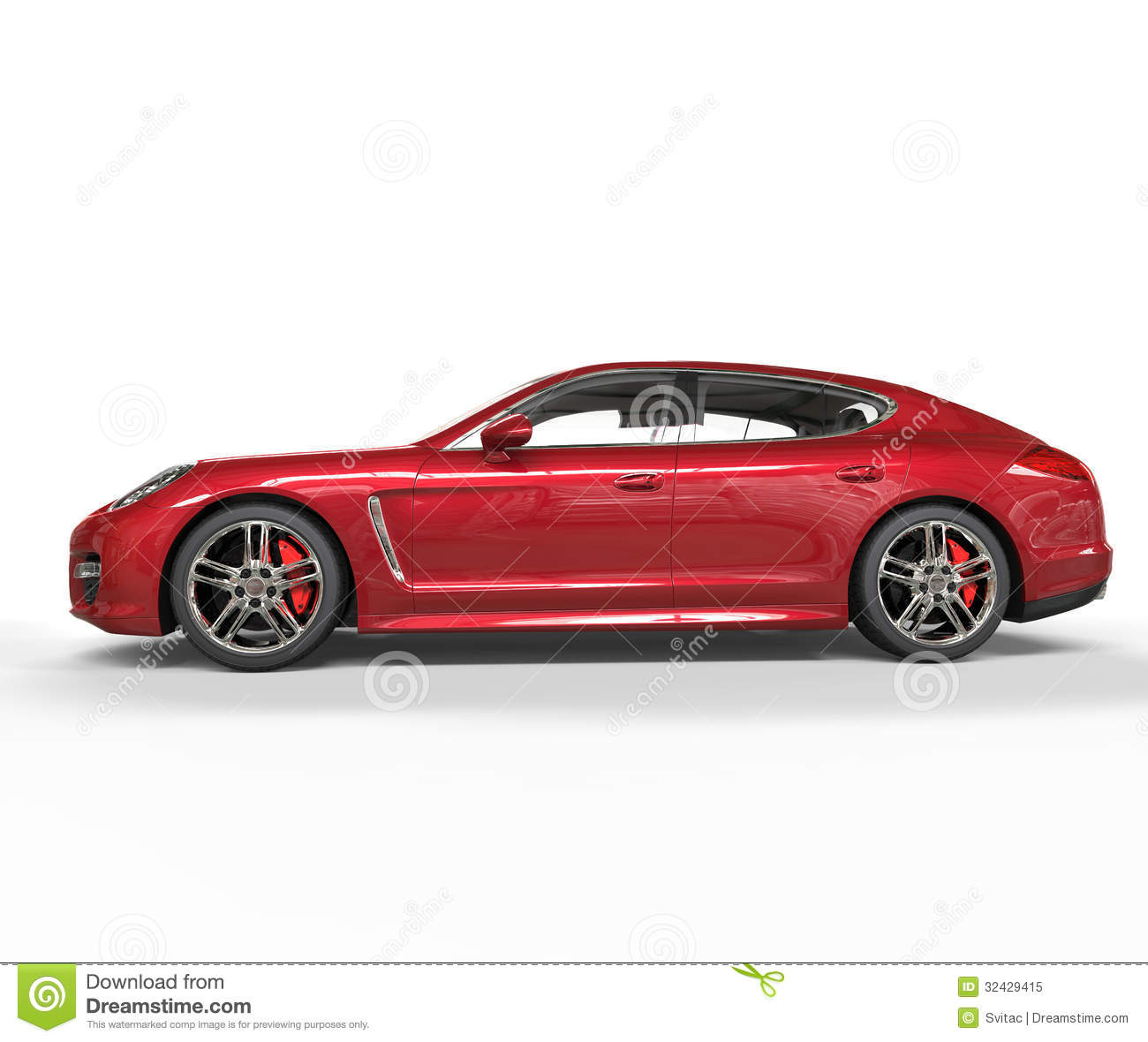 Red Fast Car Side View Royalty Free Stock Photo