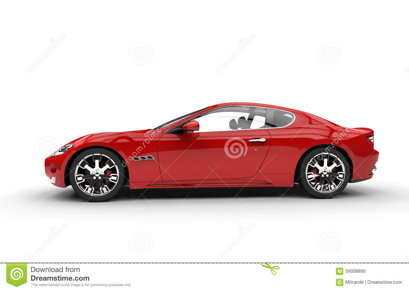 Red Fast Car Side View...