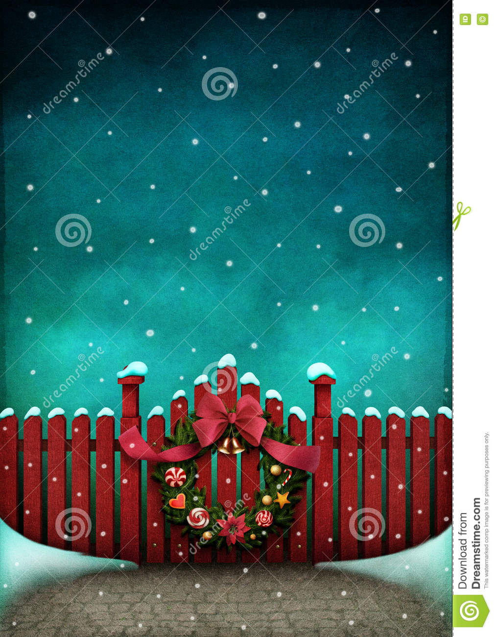 Red fence and Christmas wreath