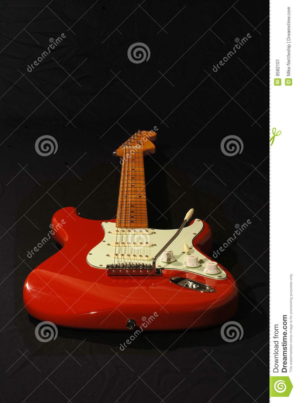 Red Fender Copy Guitar Stock Image Image Of Pictures 9582101