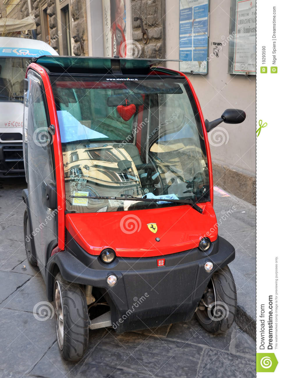 Red Ferari Electric Car In Florence Italy Editorial Image