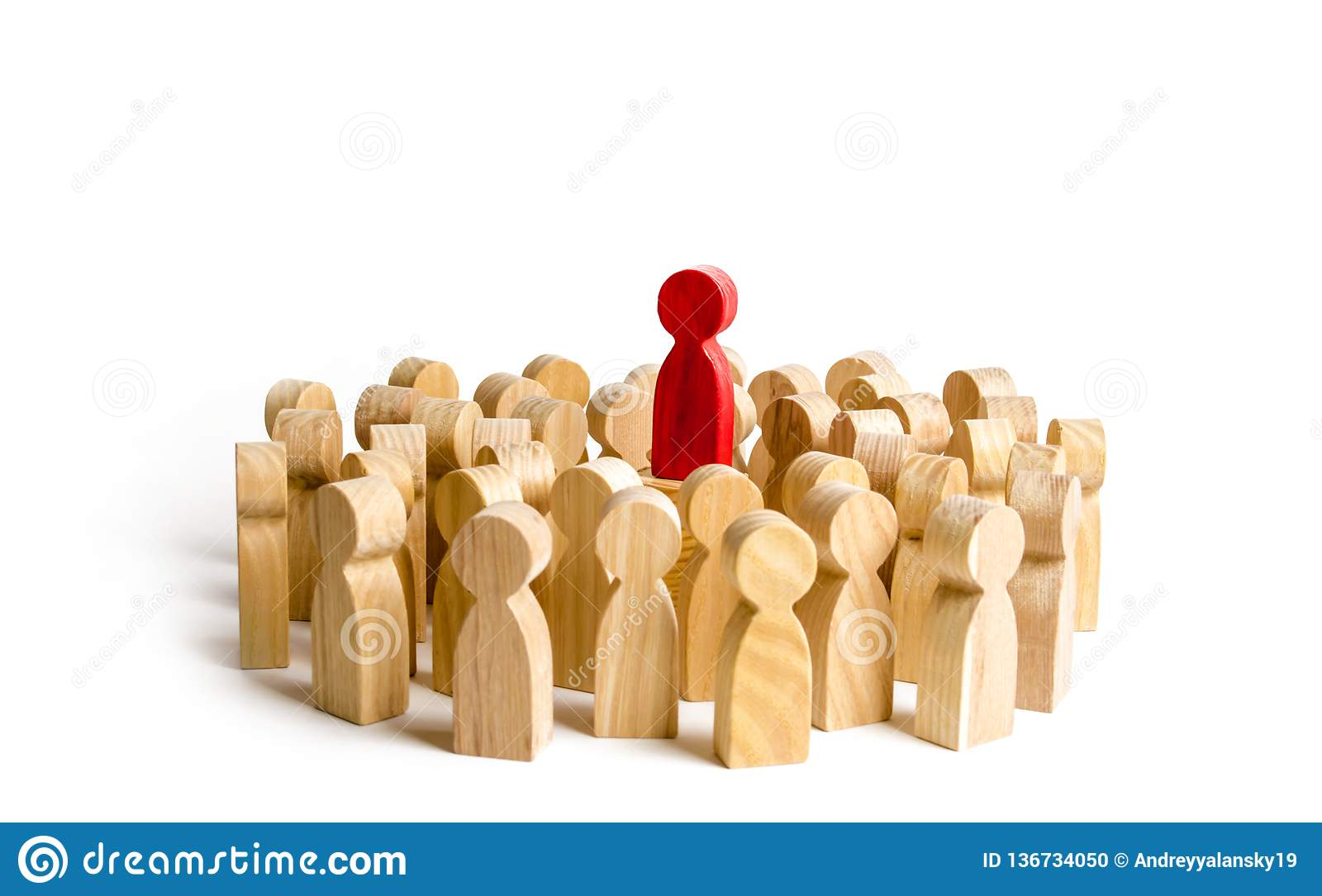 Red figure leader stands at the head of the crowd. Business concept of leader and leadership