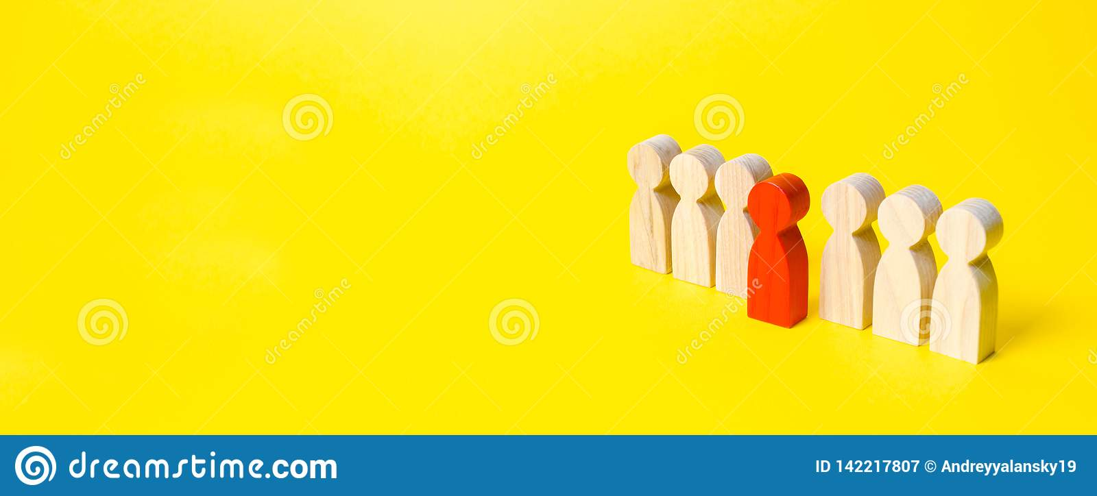 The red figure of a man comes out of a line of people on a yellow background. Leader concept and leadership qualities. Talented