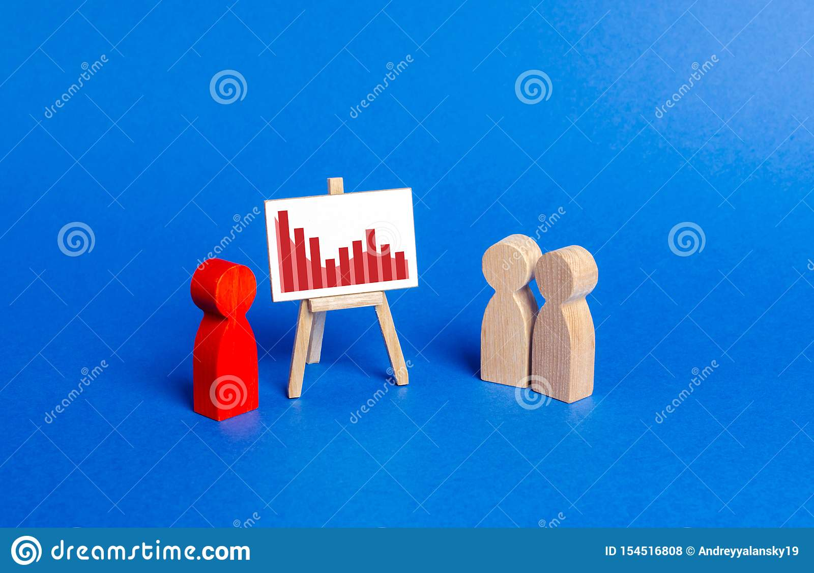 Red figurine of a man holds a presentation. Negative trend chart. Falling sales and profits, rising costs and losses. Bad times