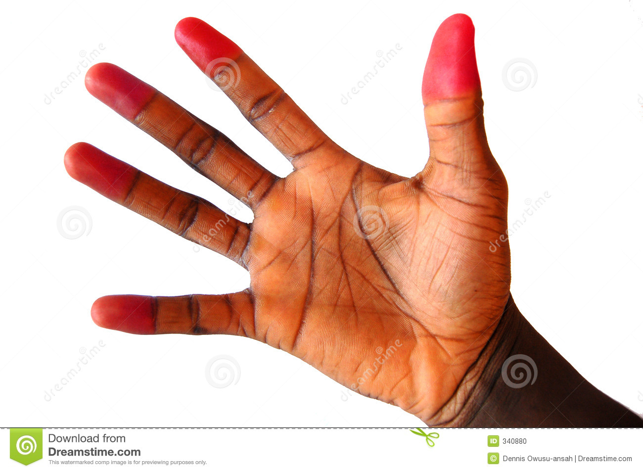 This is an image of a black hand with red coloured finger tips.
