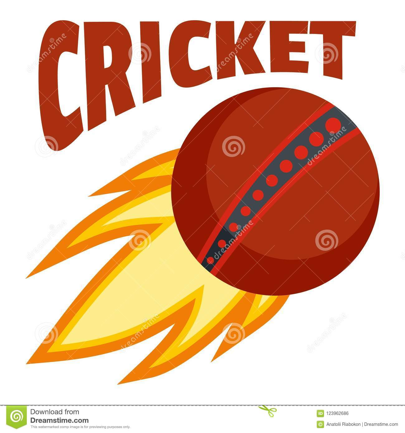 Red fire ball cricket logo, flat style