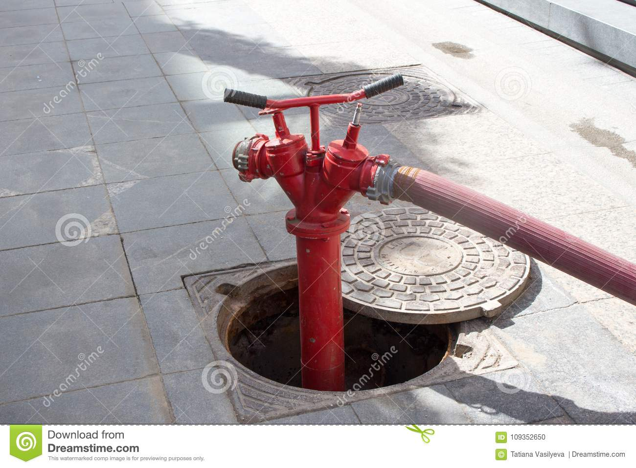 Red Fire Hydrant in Moscow stock photo  Image of fireman - 109352650