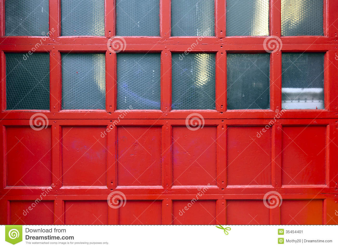 Red Fire Station Door Textured Background Stock Image