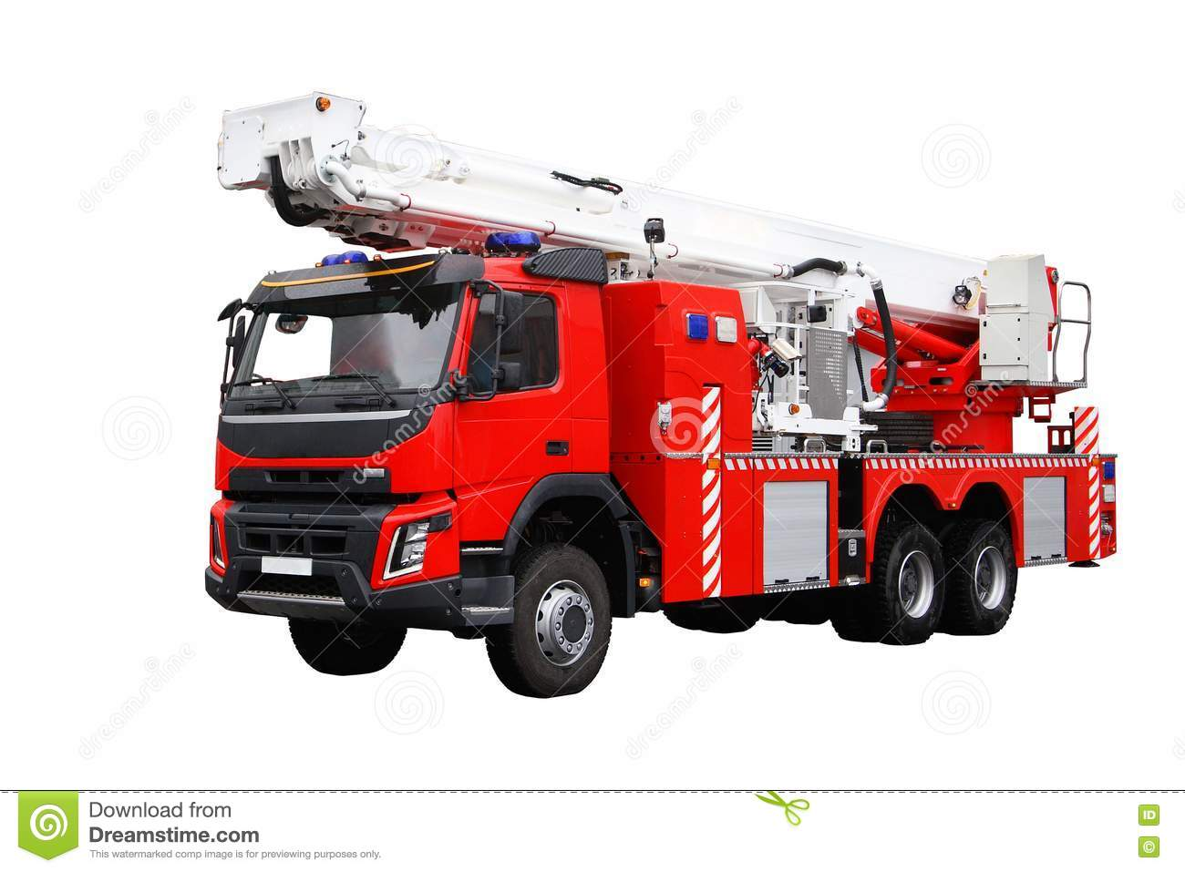 Red fire truck. Rescuers.