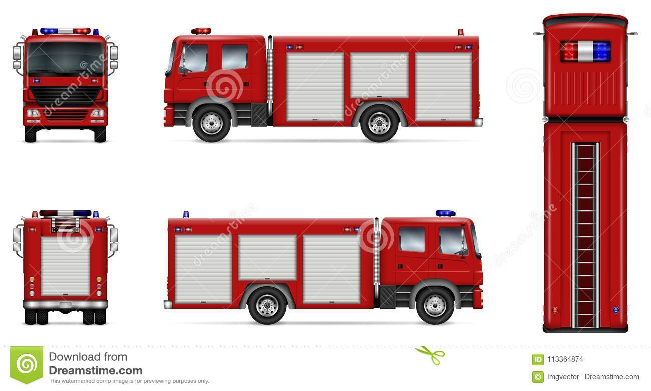 Red fire truck vector mockup stock vector illustration of red fire truck vector mockup maxwellsz
