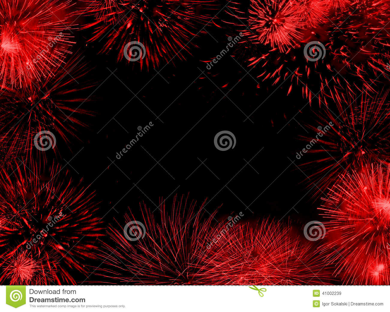 Red Fireworks Free Stock Photo: Red Fireworks Frame Stock Photo
