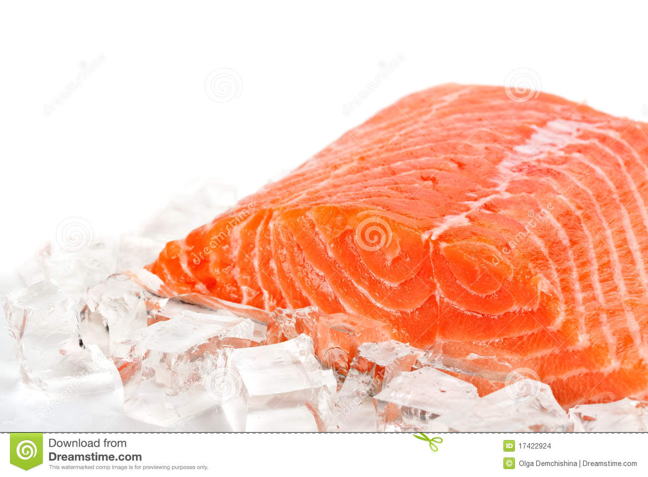 Red fish with ice slices