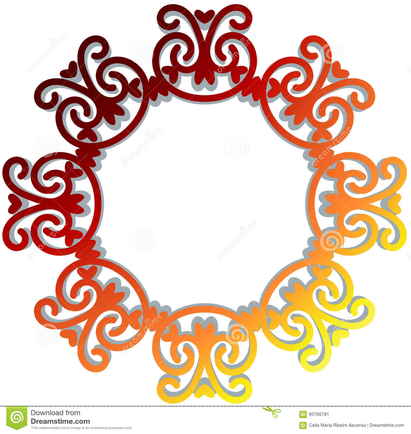 Red Flame Baroque Frame Border Stock Illustration