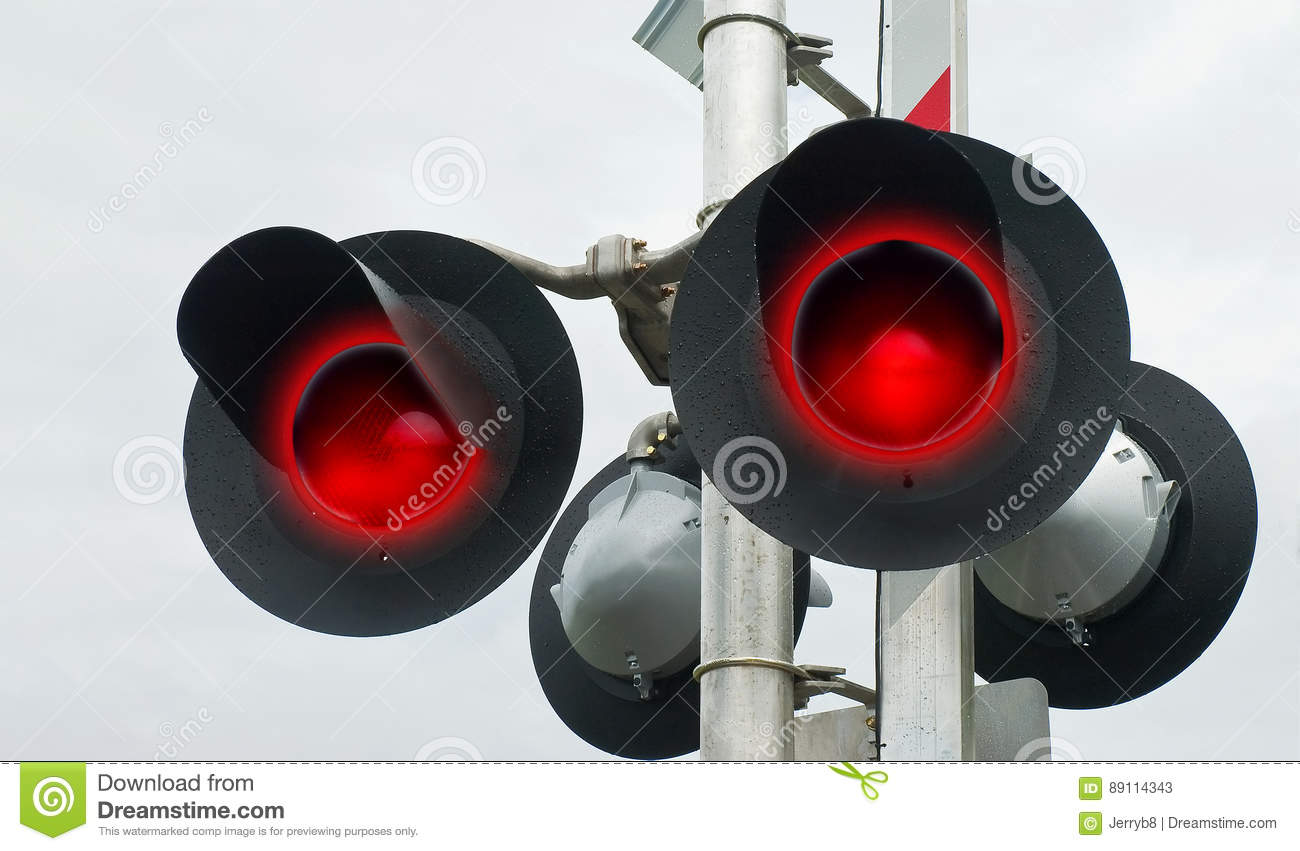 Red Flashing Rail Crossing Signals Stock Image - Image of