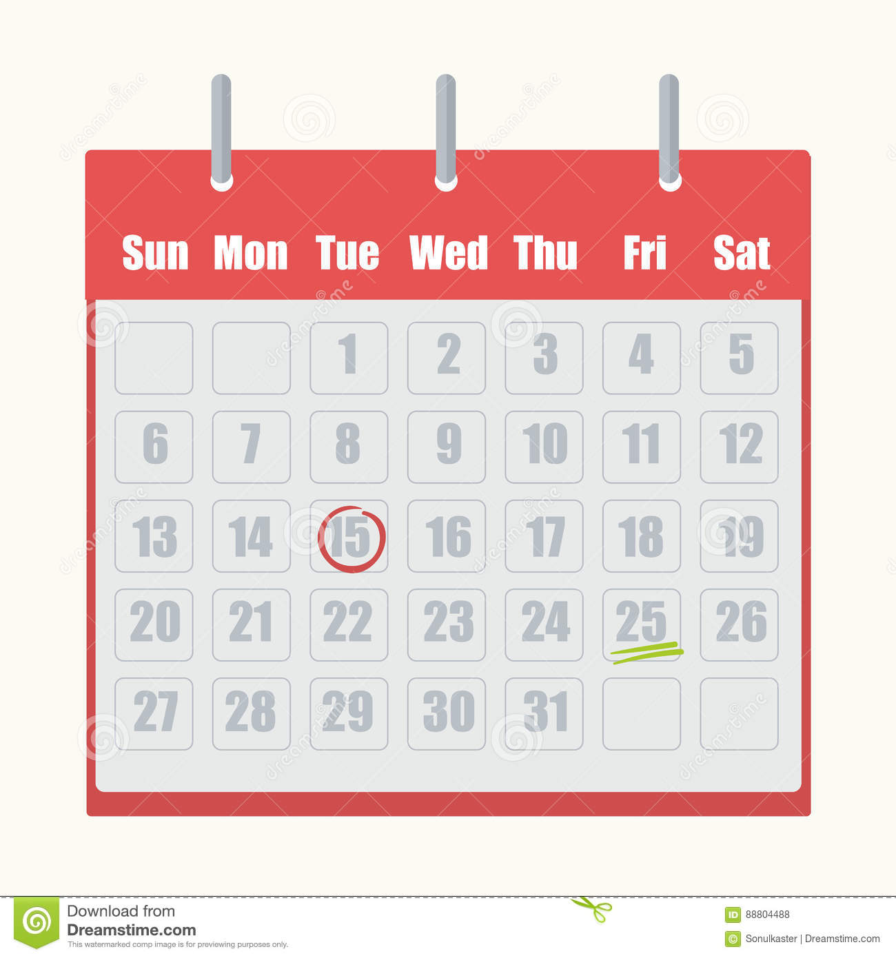 Red flip-flop calendar with gray numbers close-up on white background