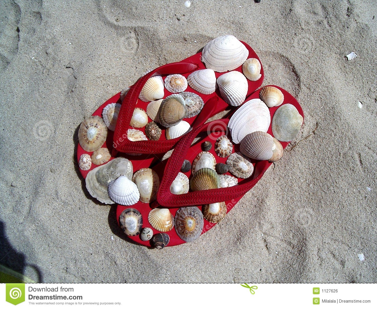 Red flip-flops with shells
