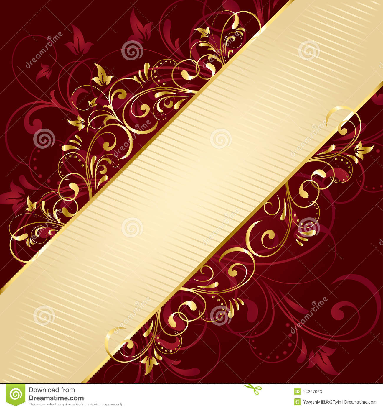 Red Floral Background With Golden Template Stock Photos