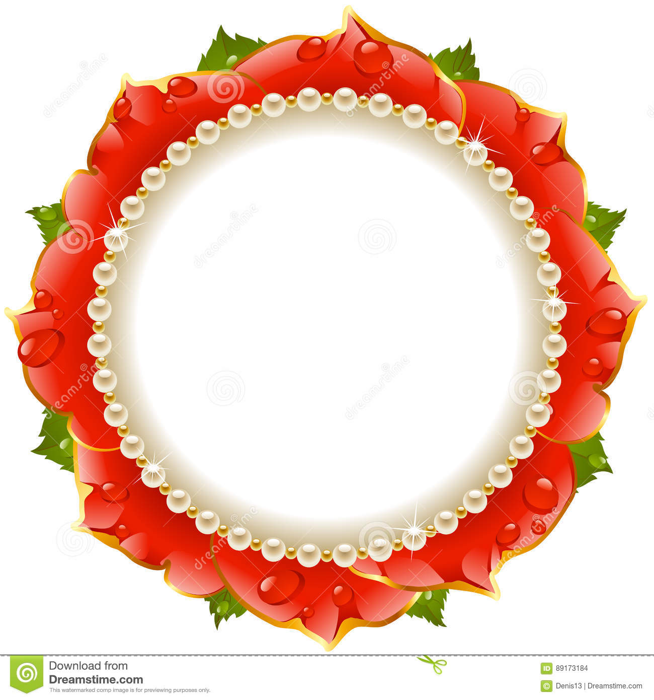 Red Floral Circle Frame stock vector. Illustration of gold - 89173184