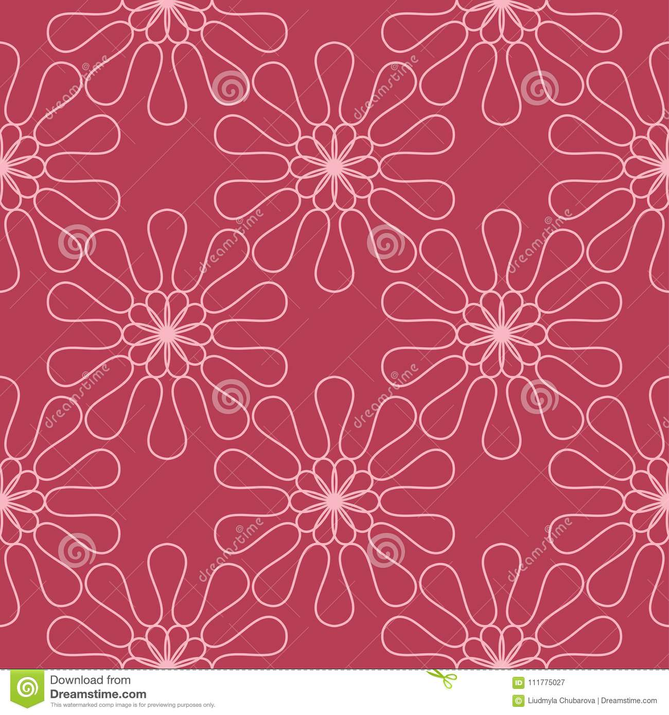 Red floral seamless background. Ornamental pattern