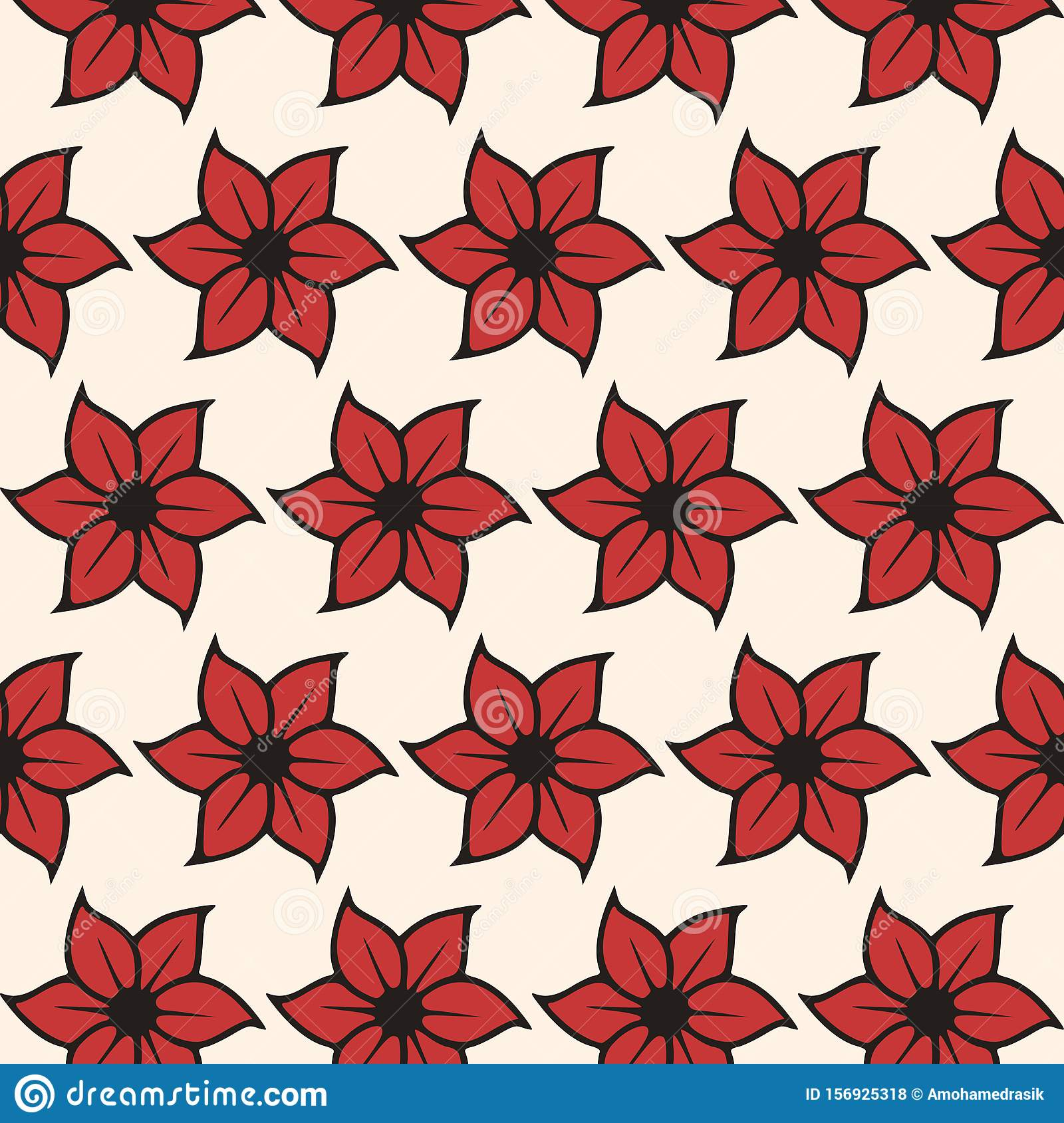 Red floral seamless pattern on white background - Ornamental vector