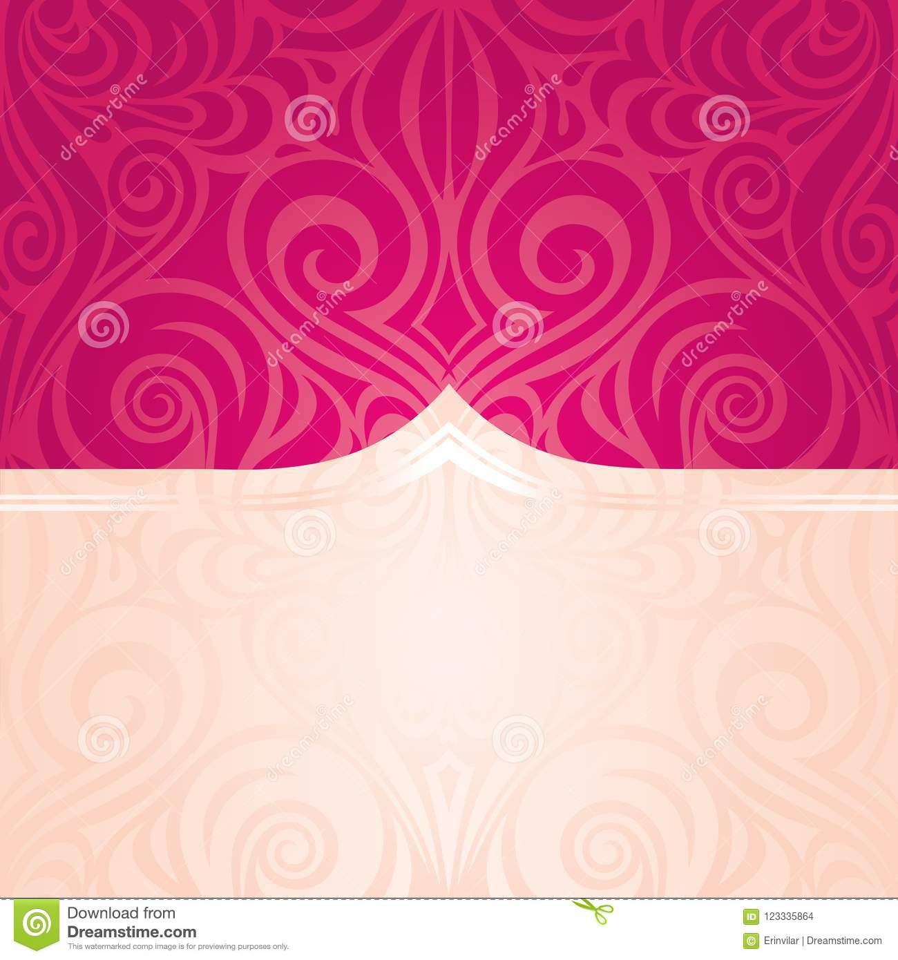 Red Floral Vector Pattern Wallpaper Wedding Background Trendy Fashion Mandala Design With Copy Space